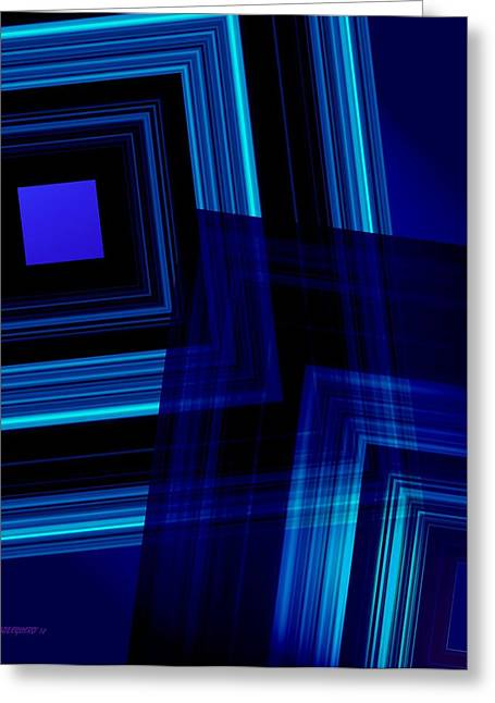 Transparency Geometric Greeting Cards - Blue Tones Greeting Card by Mario  Perez