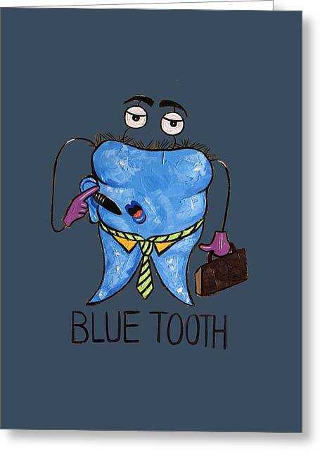 Fine Art Metal Prints Greeting Cards - Blue Tooth Dental Art By Anthony Falbo Greeting Card by Anthony Falbo
