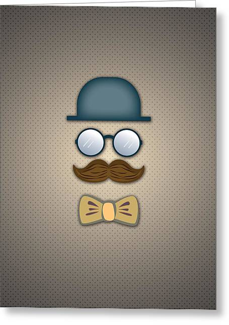 Neck Tie Greeting Cards - Blue Top Hat Moustache Glasses and Bow Tie Greeting Card by Ym Chin