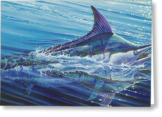 Striped Marlin Greeting Cards - Blue Tranquility Off0051 Greeting Card by Carey Chen