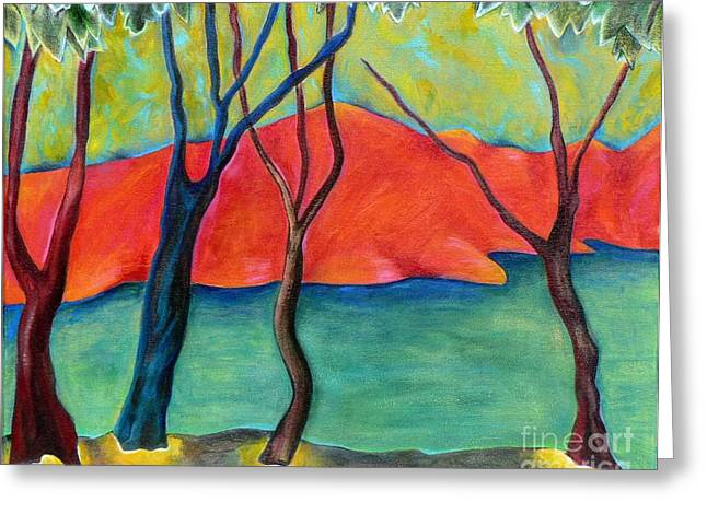 Fauvist Style Greeting Cards - Blue Tree 2 Greeting Card by Elizabeth Fontaine-Barr