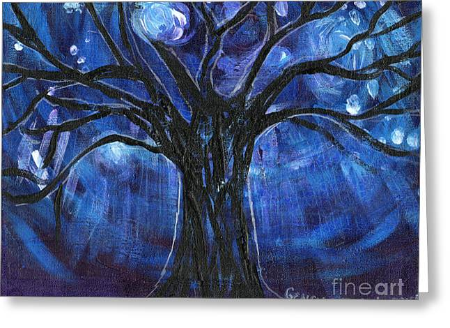 Esson Greeting Cards - Blue Tree At Night Greeting Card by Genevieve Esson