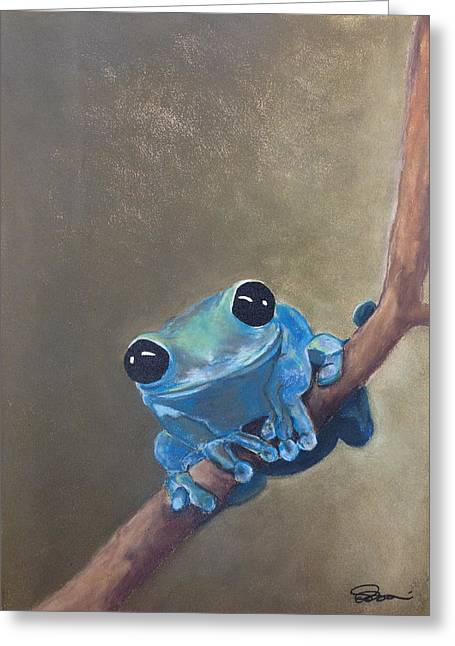 Amphibians Pastels Greeting Cards - Blue Tree Frog on a Branch Greeting Card by Cristel Mol-Dellepoort