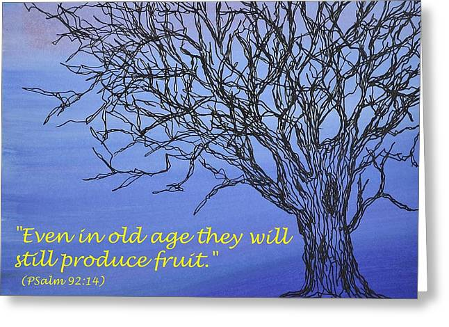 Acylic Paint Greeting Cards - Blue Tree Greeting Card by Kathleen Pio