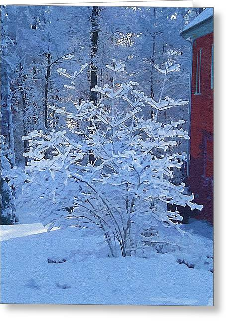 Wintry Mixed Media Greeting Cards - Blue Tree Greeting Card by Mitchell Gibson