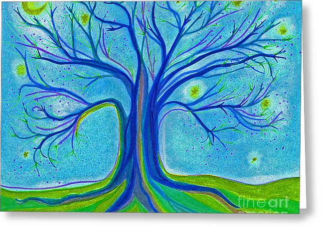 Hike Drawings Greeting Cards - Blue Tree Sky by jrr Greeting Card by First Star Art