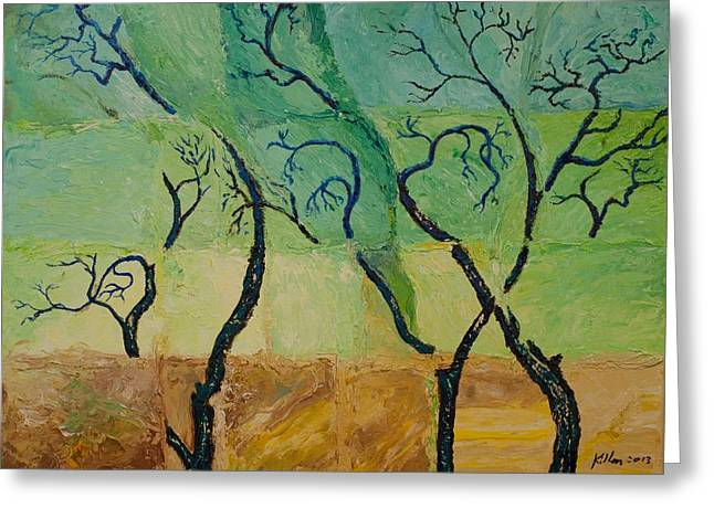 Pallet Knife Greeting Cards - Blue Trees Greeting Card by William Killen