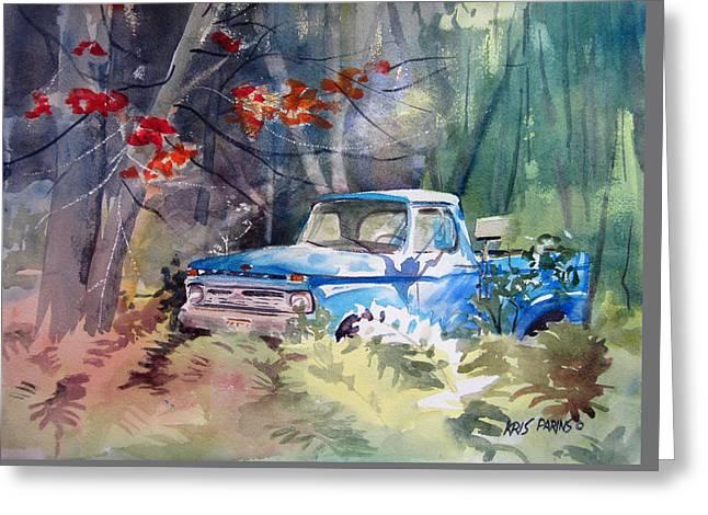 Blue Truck Greeting Card by Kris Parins