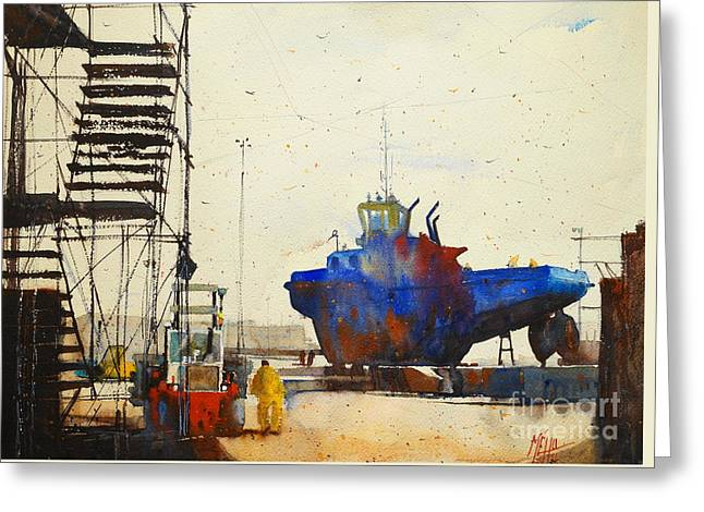 Lorient Greeting Cards - Blue Tugboat Greeting Card by Andre MEHU