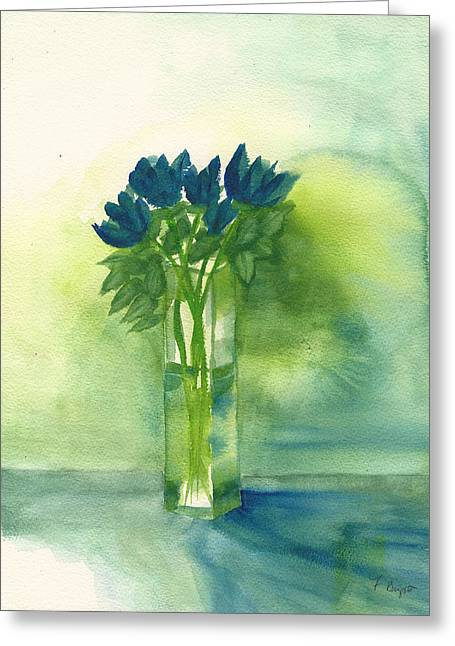 Recently Sold -  - March Greeting Cards - Blue Tulips in Glass Vase Greeting Card by Frank Bright