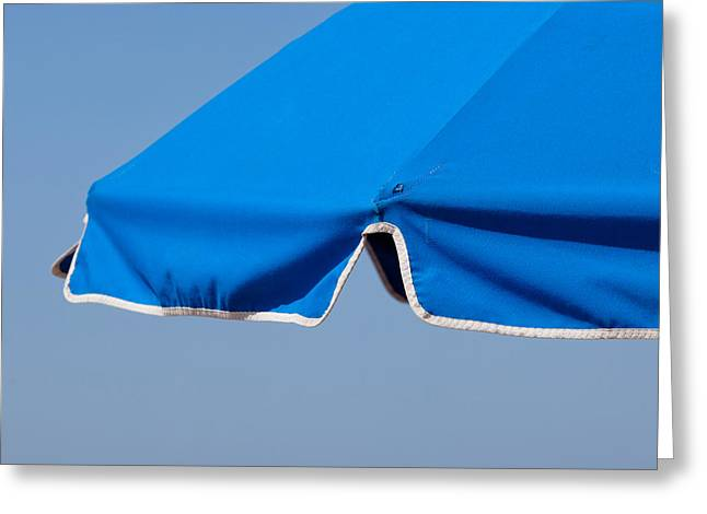 Sunbathing Greeting Cards - Blue Umbrella Greeting Card by Art Block Collections