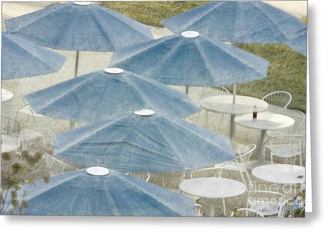 Blue Umbrella Greeting Cards - Blue umbrellas and a cola Greeting Card by Cindy Garber Iverson