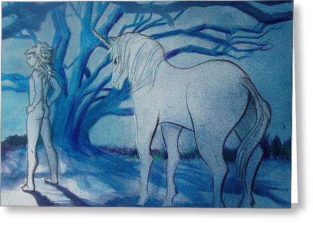 Queer Greeting Cards - Blue Unicorm Greeting Card by Rene Capone