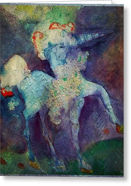 Camelot Digital Art Greeting Cards - Blue Unicorn Greeting Card by Mindy Newman