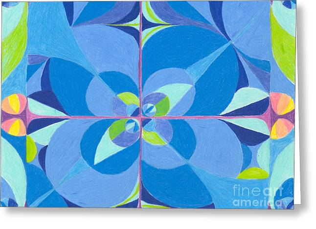 Lime Drawings Greeting Cards - Blue Unity Greeting Card by Kim Sy Ok