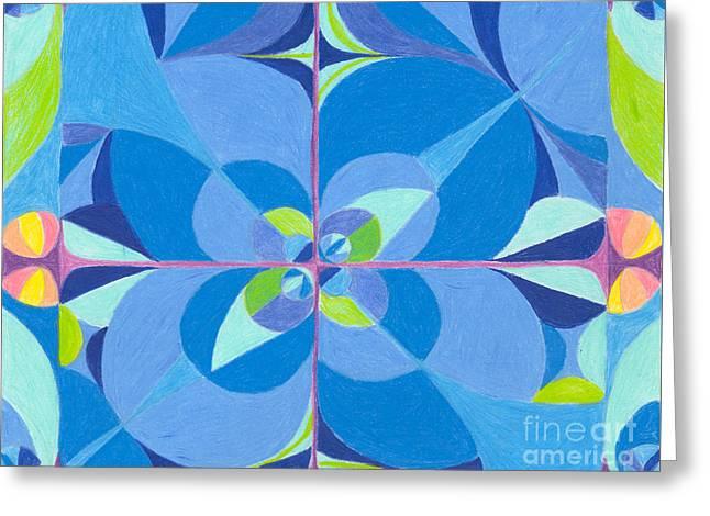 Blue Unity Greeting Card by Kim Sy Ok