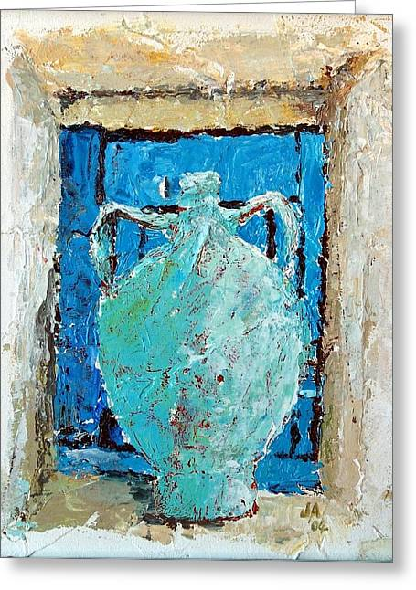 Pottery Pitcher Mixed Media Greeting Cards - Blue Urn In A Window Greeting Card by Janet Ashworth