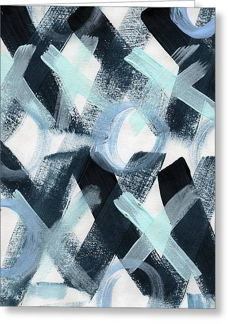 Blue Valentine- Abstract Painting Greeting Card by Linda Woods
