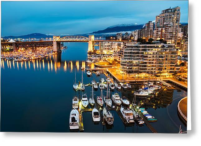Vancouver Night Scene Greeting Cards - Blue Vancouver Morning Greeting Card by James Wheeler