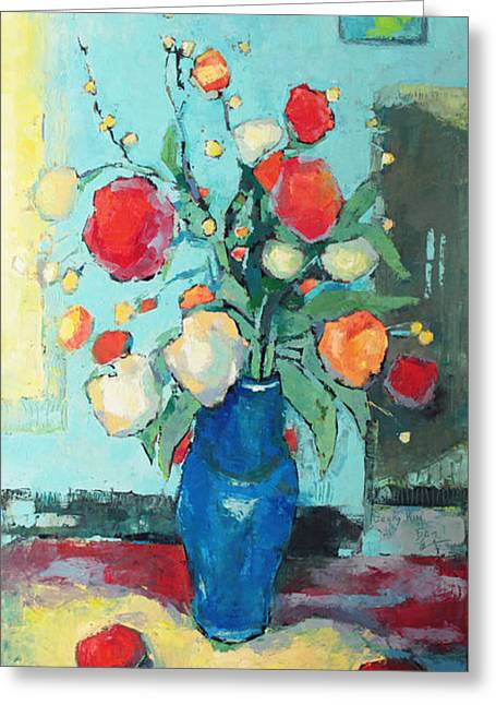 Pallet Knife Greeting Cards - Blue Vase Greeting Card by Becky Kim