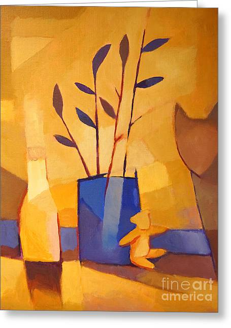 Still Life Artwork Greeting Cards - Blue Vase Greeting Card by Lutz Baar