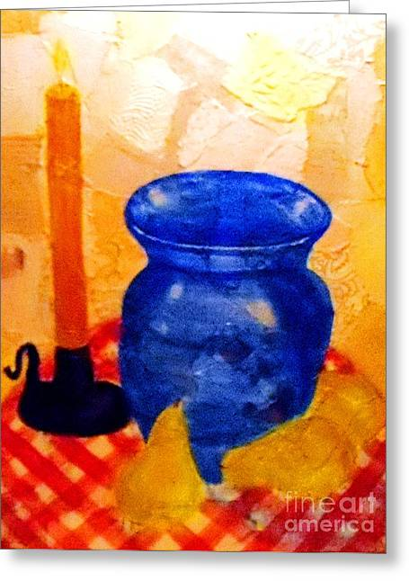 Checked Tablecloths Mixed Media Greeting Cards - Blue Vase with Pears Greeting Card by Desiree Paquette