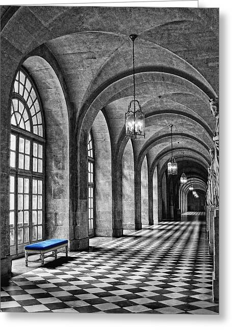 Checkerboard Floor Greeting Cards - Blue Velvet Greeting Card by Nikolyn McDonald