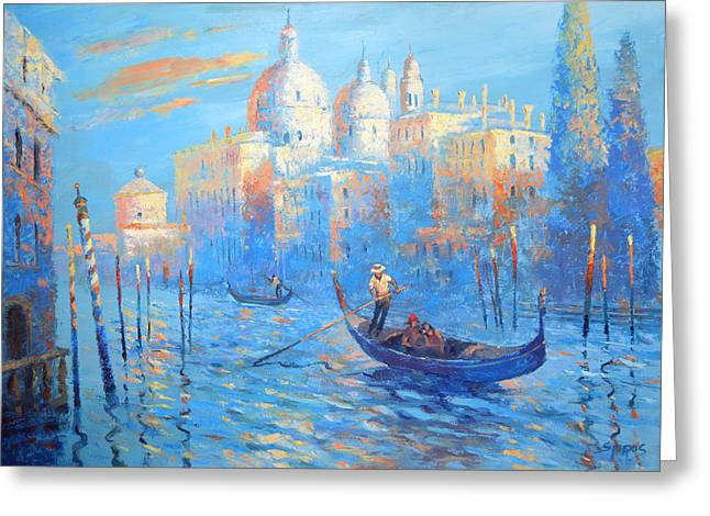 Recently Sold -  - Water Vessels Greeting Cards - Blue venice Greeting Card by Dmitry Spiros