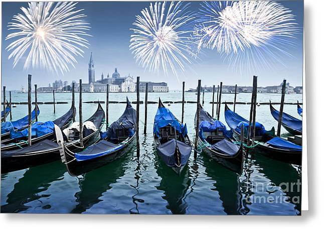 Romanticism Greeting Cards - Blue Venice fireworks Greeting Card by Delphimages Photo Creations