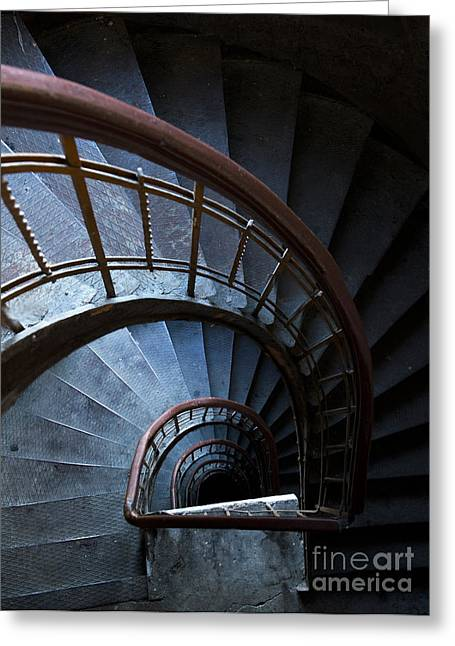 Shining Down Greeting Cards - Blue vintage staircase Greeting Card by Jaroslaw Blaminsky