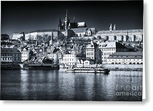 Prague Castle Greeting Cards - Blue Vltava View Greeting Card by John Rizzuto