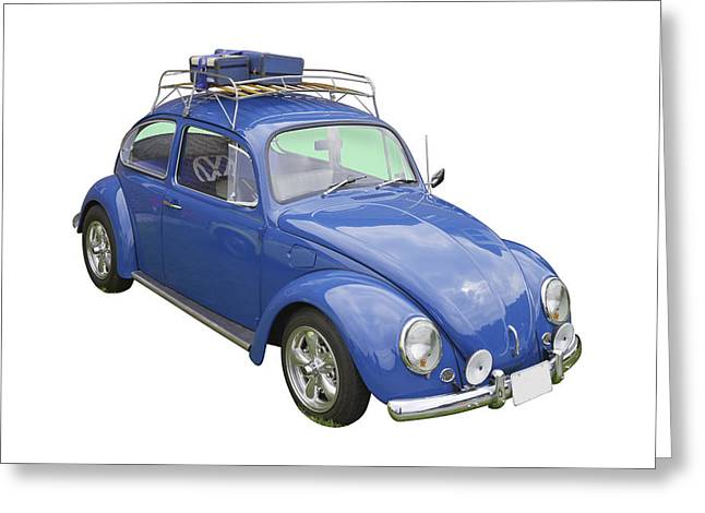 Punch Digital Art Greeting Cards - Blue Volkswagen beetle Punch Buggy Greeting Card by Keith Webber Jr