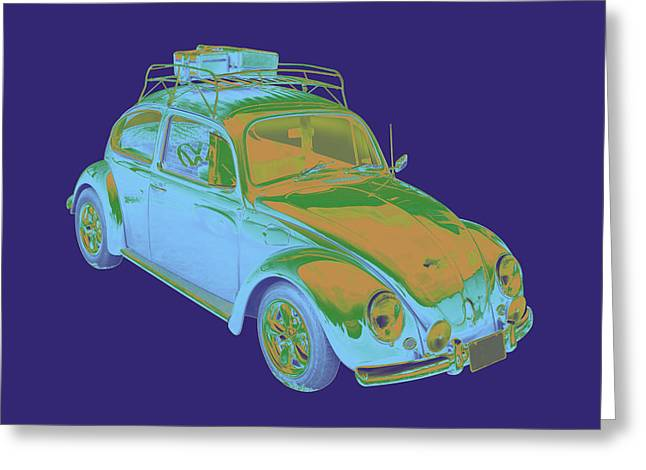 Punch Digital Art Greeting Cards - Blue Volkswagen beetle Punch Buggy Modern Art Greeting Card by Keith Webber Jr