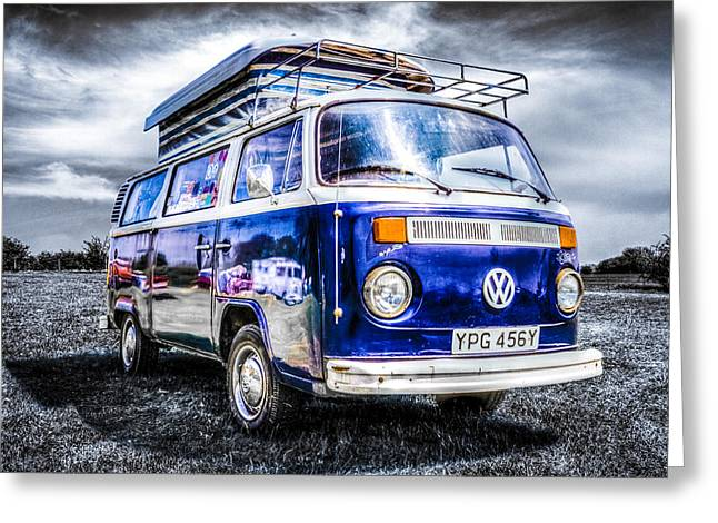 Campervan Greeting Cards - Blue VW Campervan Greeting Card by Ian Hufton