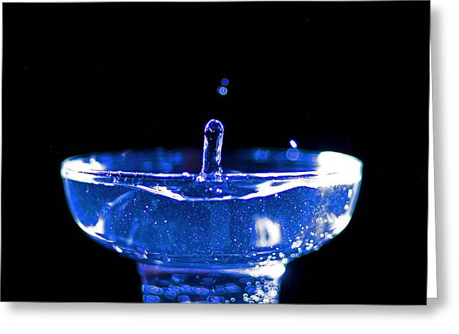 Drops Of Water Greeting Cards - Blue water drop action Greeting Card by Sven Brogren