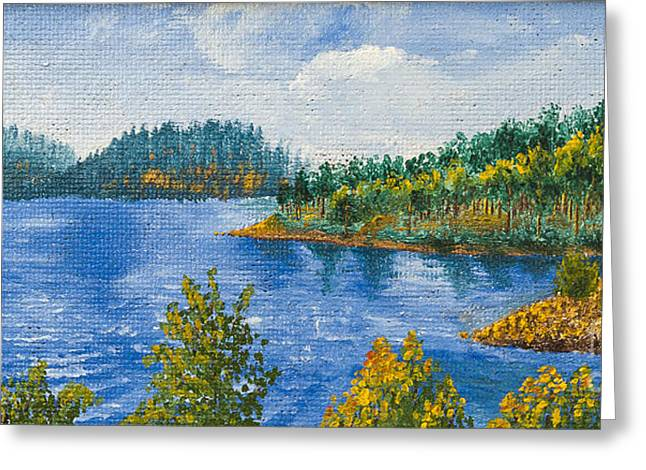 River Scenes Mixed Media Greeting Cards - Blue Water Lake Greeting Card by Svetlana Sewell