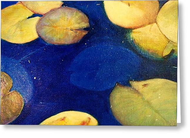 Lilly Pad Greeting Cards - Blue Water Lillies Greeting Card by Elizabeth  Bogard