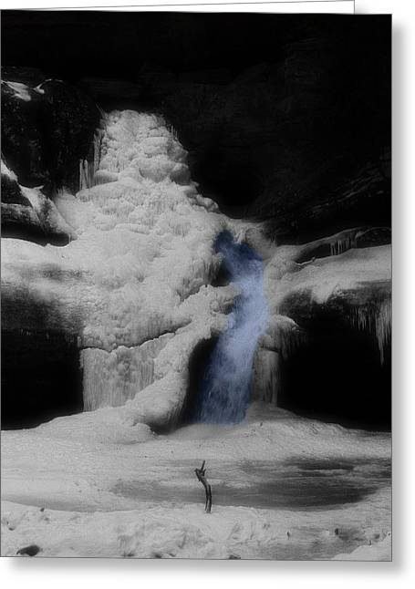 Water In Cave Greeting Cards - Blue Waterfall Frozen Landscape Greeting Card by Dan Sproul
