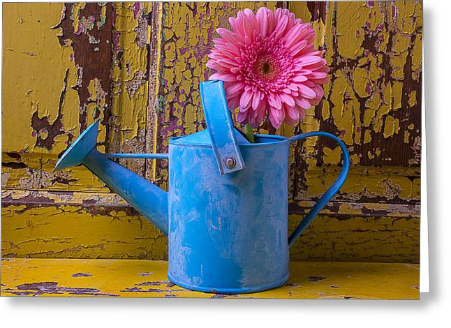 Watering Can Greeting Cards - Blue Watering Can Greeting Card by Garry Gay