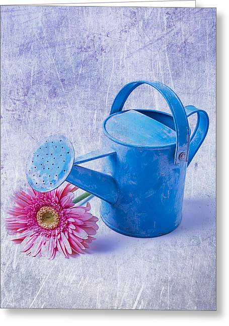 Watering Can Greeting Cards - Blue Watering Can With Daisy Greeting Card by Garry Gay