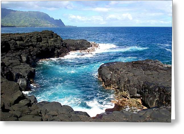 Dream Scape Greeting Cards - Blue Waters of Queens Bath - Kauai Hawaii Greeting Card by Amy McDaniel