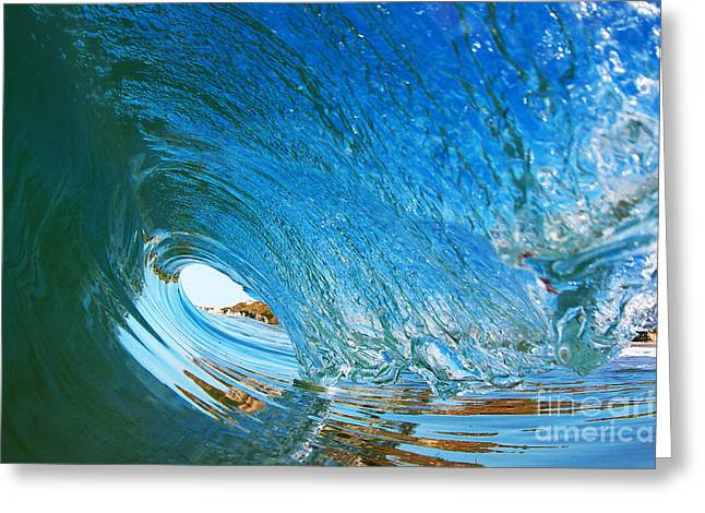 Santa Cruz Surfing Greeting Cards - Blue Wave Curl Greeting Card by Paul Topp