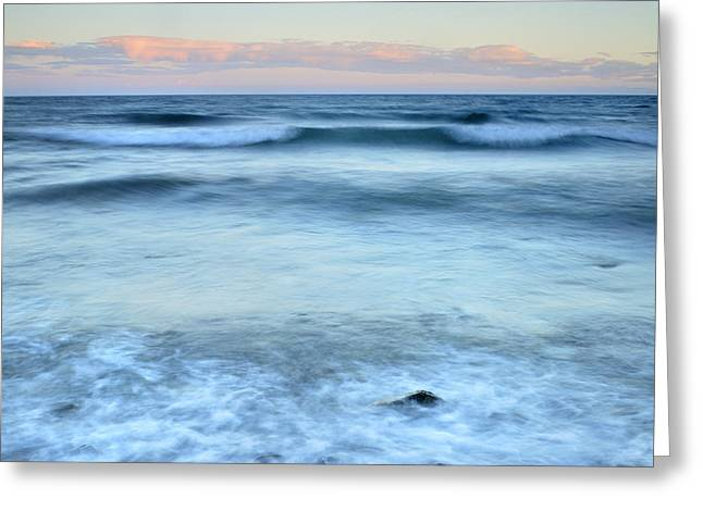 Blue Green Wave Greeting Cards - Blue waves Greeting Card by Guido Montanes Castillo