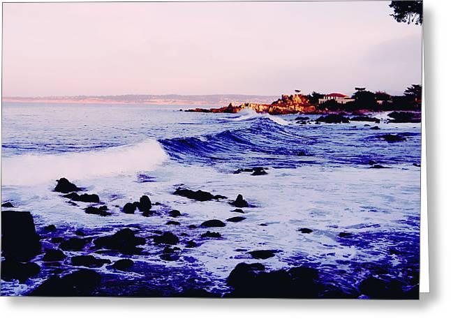 Santa Cruz Greeting Cards - Blue Waves Greeting Card by Lisa McKinney