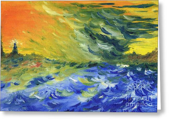 Timely Greeting Cards - Blue Waves Greeting Card by Teresa White