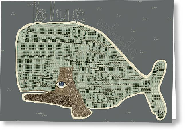 Childrens Books Digital Greeting Cards - Blue Whale Greeting Card by Bri Buckley