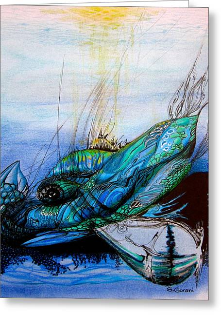 Ocean Mammals Drawings Greeting Cards - Blue Whale Greeting Card by Geni Gorani