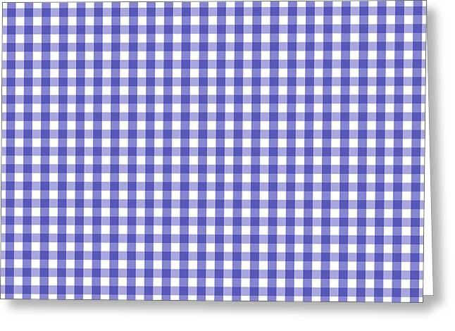 Blue And White Gingham Greeting Cards - Blue White Gingham Check Pattern Greeting Card by Tigerlynx Art