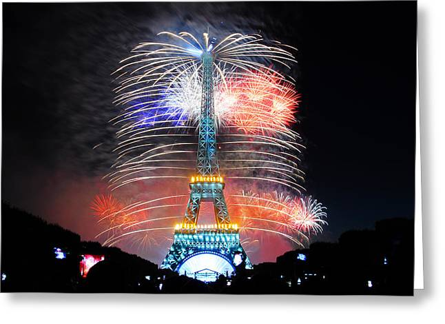 Bastille Greeting Cards - Blue White Red Fireworks Greeting Card by Joel Thai