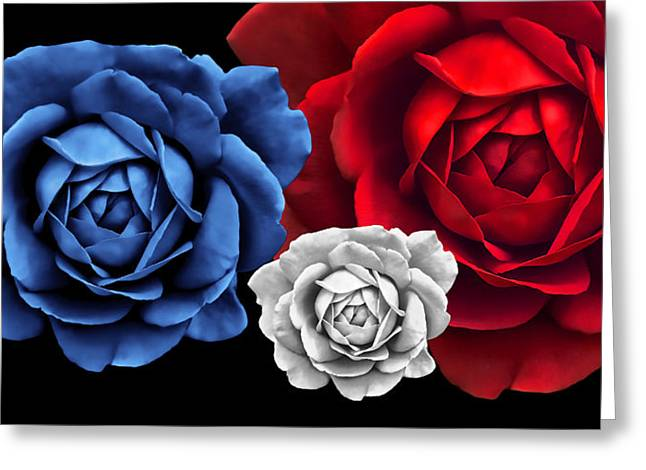 Blue White Red Roses Abstract Greeting Card by Jennie Marie Schell